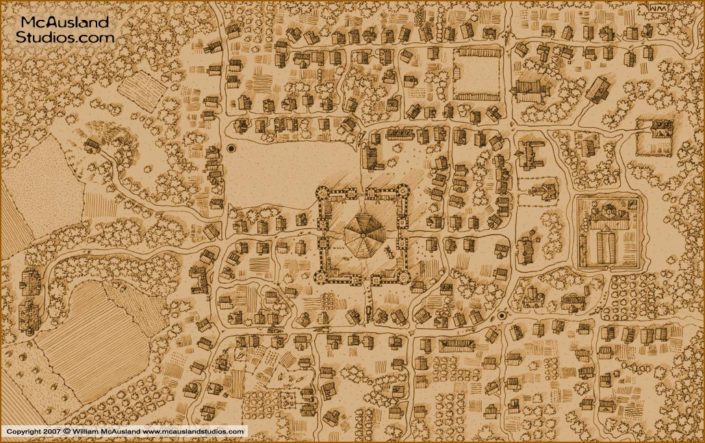 Town Map Sepia Tone By William McAuslandRPG Art Bookcovers - World map sepia toned