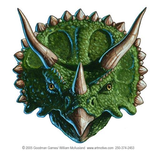 ... freelance illustrator, stock imagery, digital and traditional artist: www.mcauslandstudios.com/illustration-Triceratops-Portrait-color...